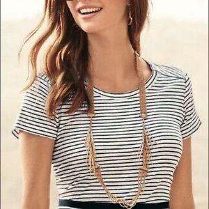 Cabi | Striped Zip Crop Top Black White